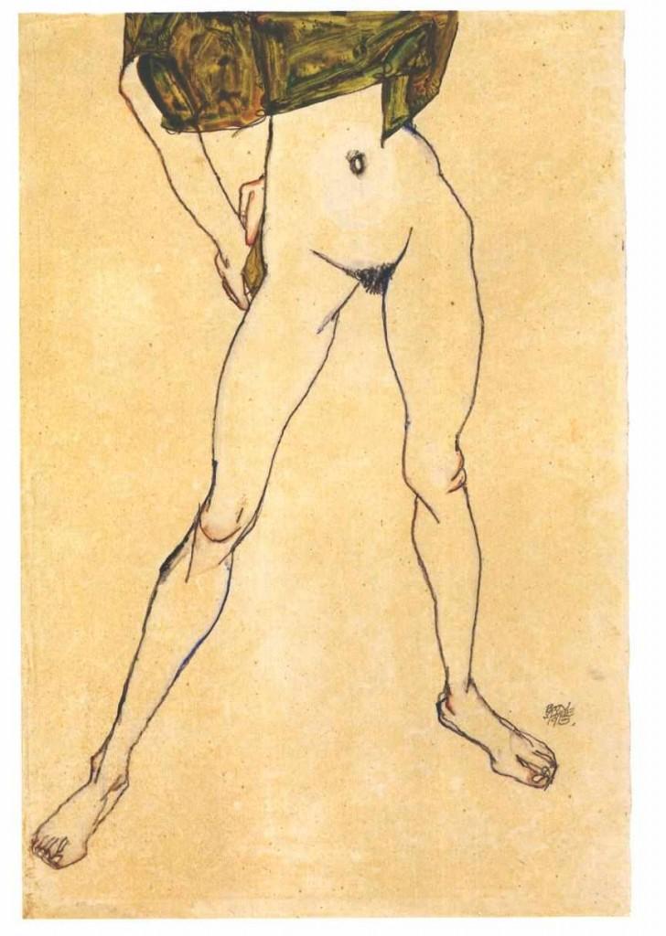 Schiele_-_Stehender_weiblicher_Torso_mit_olivgrünem_Hemd_-_1913